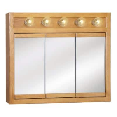Richland 36 in. x 30 in. x 5 in. Surface-Mount 5-Light Tri-View Bathroom Medicine Cabinet in Nutmeg Oak