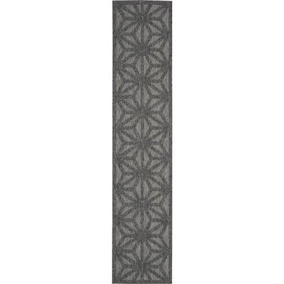 Palamos Dark Grey 2 ft. x 10 ft. Geometric Modern Indoor/Outdoor Runner Rug