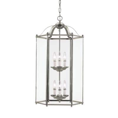 Bretton 6-Light Brushed Nickel Hall-Foyer Pendant with Dimmable Candelabra LED Bulb