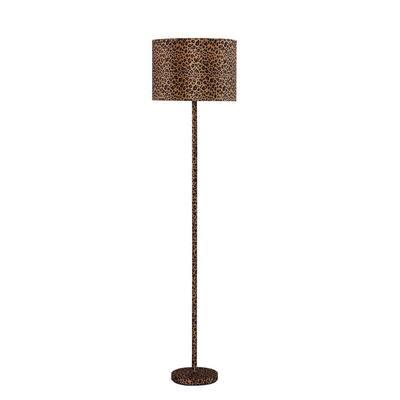 59 in. Faux Suede Leopard Print Metal Floor Lamp