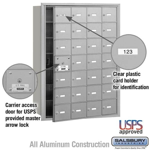Salsbury Industries Aluminum Usps Access Front Loading 4b Plus Horizontal Mailbox With 28a Doors 27 Usable 3628afu The Home Depot