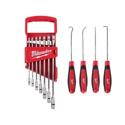 SAE Combination Ratcheting Wrench Set with Pick Set (11-Piece)