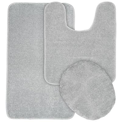 Gramercy Silver Solid Polypropylene 3-Piece Bath Mat Set