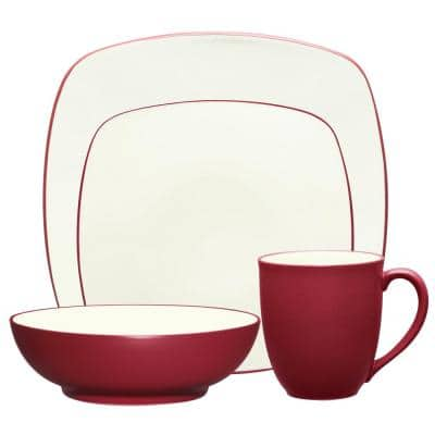 Colorwave Raspberry Red Stoneware Square 4-Piece Place Setting (Service for 1)