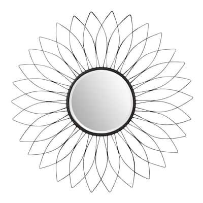 Medium Sunburst Black Beveled Glass Classic Accent Mirror (38 in. Diameter)