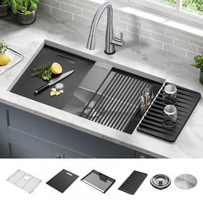 Rivet 16 Gauge Stainless Steel 30 in. Single Bowl Undermount Workstation Kitchen Sink with Accessories