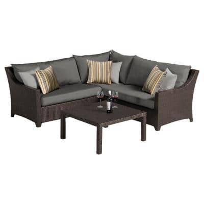 Deco 4-Piece Patio Sectional Seating Set with Charcoal Grey Cushions