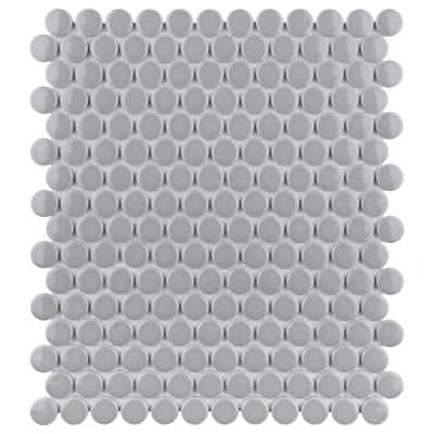 Metro Penny Glossy Light Grey 9-3/4 in. x 11-1/2 in. Porcelain Mosaic Tile (15.94 sq. ft./Case)