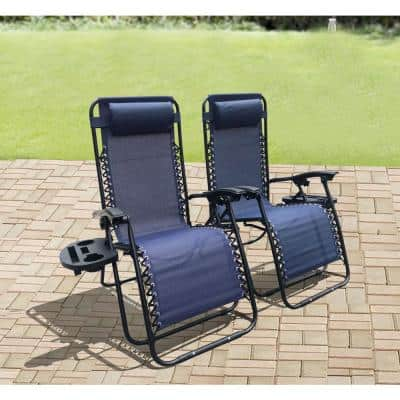 Bellini Black Folding Zero Gravity Chairs Steel Outdoor Lounge Chairs with Cup Holder with Sling Set in Blue (2-Pack)