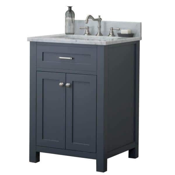 Redmond 24 In W X 34 2 In H Bath Vanity In Gray With Marble Vanity Top In White With White Basin Hkgb 101 24 G Cwmt The Home Depot