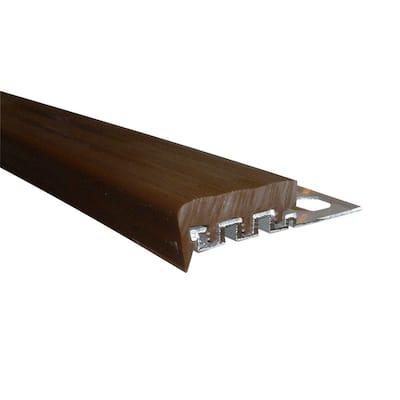 Novopeldano 1 PVC Anthracite 3/8 in. x 98-1/2 in. Aluminum-PVC Tile Edging Trim