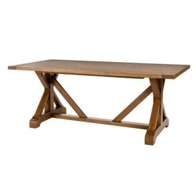 Aberwood Patina Oak Finish Wood Rectangle Trestle Dining Table for 6 (78.75 in. L x 30 in. H)