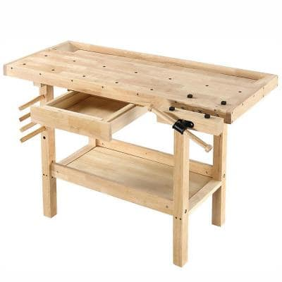 50 in. x 20 in. Hardwood Workbench with Built-In Wooden Vise and 330 lbs. Weight Capacity