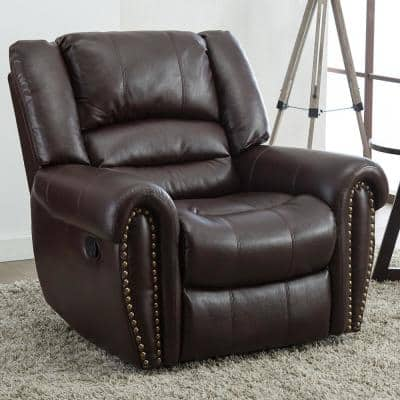 42 in. Width Big and Tall Brown Faux Leather Nailhead Trim 3 Position Manual Recliner