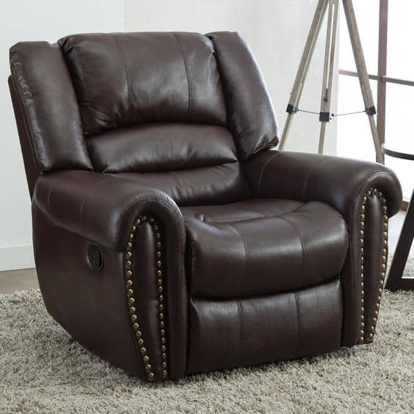 Good Gracious 42 In Width Big And Tall Brown Faux Leather Nailhead Trim 3 Position Manual Recliner R9878h042 The Home Depot