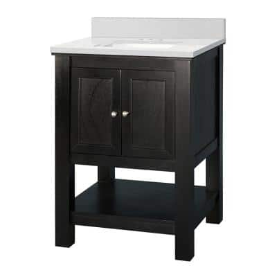 Gazette 25 in. W x 22 in. D Vanity Cabinet in Espresso with Engineered Marble Vanity Top in Snowstorm with White Sink