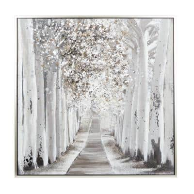 48 x 48 in. White Natural Canvas Wall Art