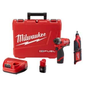 M12 FUEL 12-Volt Lithium-Ion Brushless Cordless 1/4 in. Hex Impact Driver Kit W/ M12 Rotary Tool