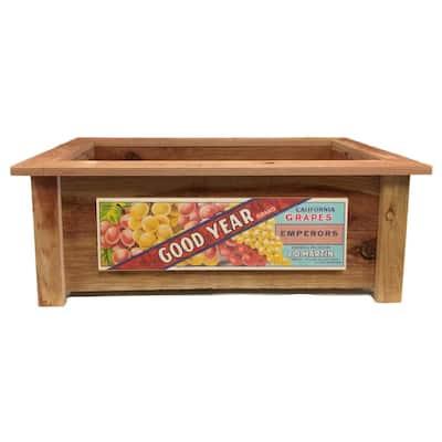 Redwood Rectangular Planter with Fruit Crate Art