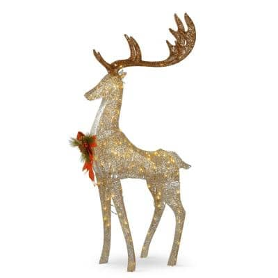 55 in. Crystal Coiling Champagne Standing Buck with 120 Warm White Twinkling LED Lights