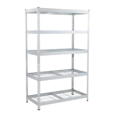 Silver 5-Tier Riveted Steel Garage Storage Shelving Unit (48 in. W x 78 in. H x 24 in. D)