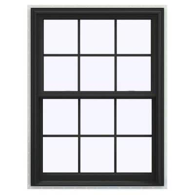 36 in. x 48 in. V-2500 Series Bronze FiniShield Vinyl Double Hung Window with Colonial Grids/Grilles