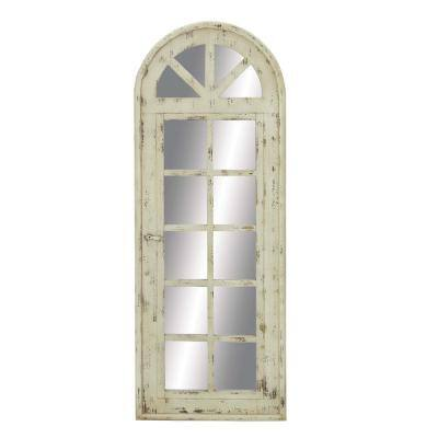 Tall Wooden Arched Window Frame Wall Mirror With Antique White Finish, 20 in. x 53 in.