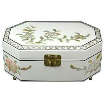 Oriental Furniture Violetta Lacquer Jewelry Box in White