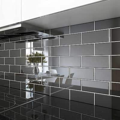 Black 3 in. x 6 in. x 8 mm Glass Subway Tile (5 sq. ft. / case)