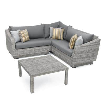 Cannes 4-Piece Patio Corner Sectional Set with Charcoal Grey Cushions