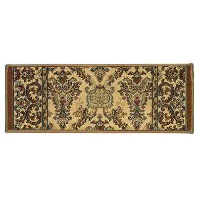 Kurdamir Elegante Ivory 9 in. x 26 in. Stair Tread Cover