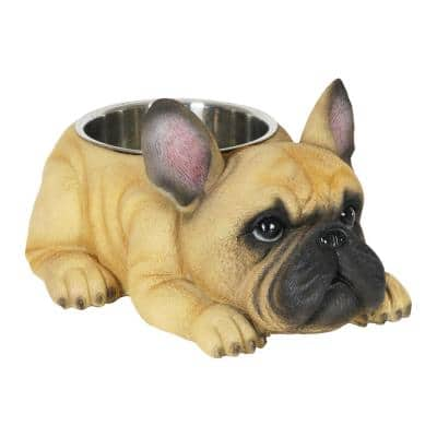 French Bulldog 12 in. x 6 in. Resin Statue with Stainless Insert Bowl Dog in Yellow