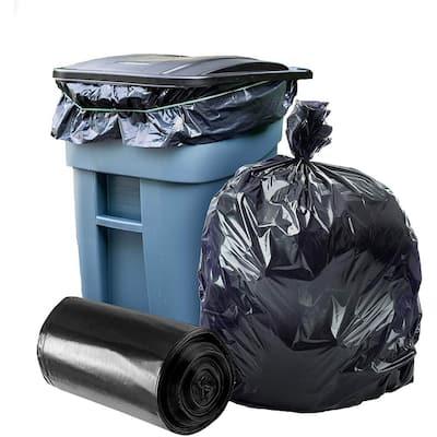 50 in. W x 48 in. H 65 Gal. 2.7 mil Black Gusset Seal Low Density Trash Bags (100-Roll)