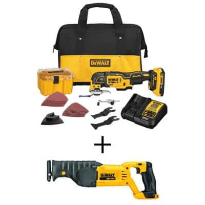 20-Volt MAX XR Cordless Brushless 3-Speed Oscillating Multi-Tool with (1) 20-Volt 2.0Ah Battery & Reciprocating Saw