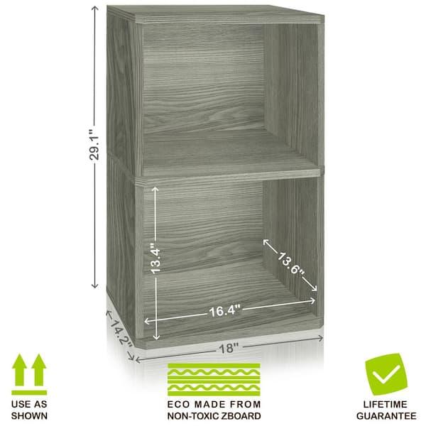 Way Basics - Board Grey 2-Shelf Vinyl Record and LP Record Album Storage Shelf