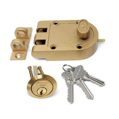 Bronze Laquer Single Cylinder Jimmy Proof Die Cast Deadbolt Lock with Flat Strike 3 SC1 Keys