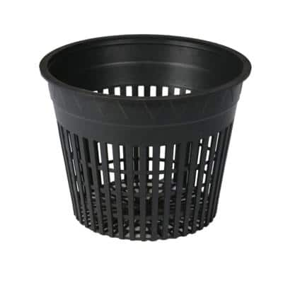3 in. Black Round Cup with Slotted Black Plastic Mesh Net Pot (48-Pack)
