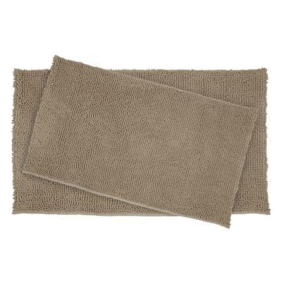 Plush Shag Chenille Linen 21 in. x 34 in. and 17 in. x 24 in. 2-Piece Bath Rug Set