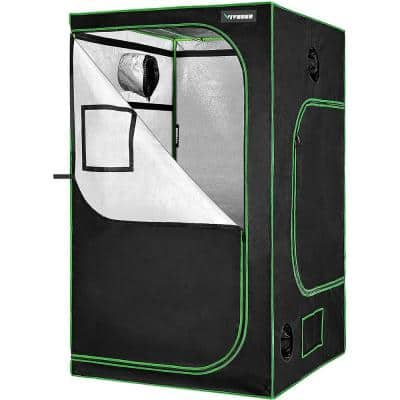 4 ft. x 4 ft. Mylar Hydroponic Grow Tent with Observation Window and Floor Tray