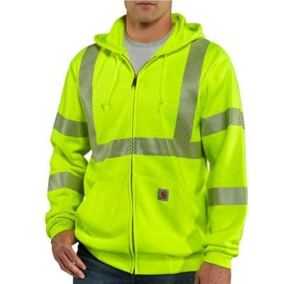 Men's Tall Extra Large Brite Lime Polyester High Visibility Zip-Front Class 3 Sweatshirt