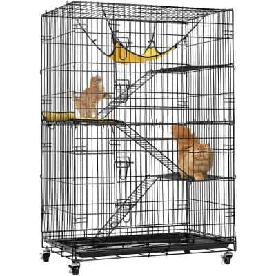 4-Tier 49 in. Metal Collapsible Cat Cage with Ramp Ladders Hammock and Bed