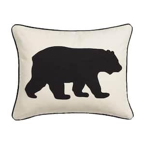 Black Bear Animal Print Cotton 16 in. x 20 in. Throw Pillow