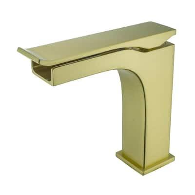 Single Handle Lever Single Hole Bathroom Faucet in Satin Brass