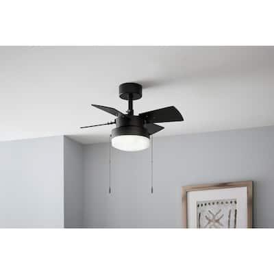 Metarie II 24 in. Indoor Matte Black Ceiling Fan with Light