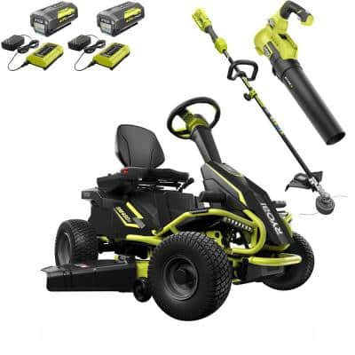 38 in. 75 Ah Battery Electric Rear Engine Riding Lawn Mower and 40-Volt Cordless Attachment Capable Trimmer/Leaf Blower