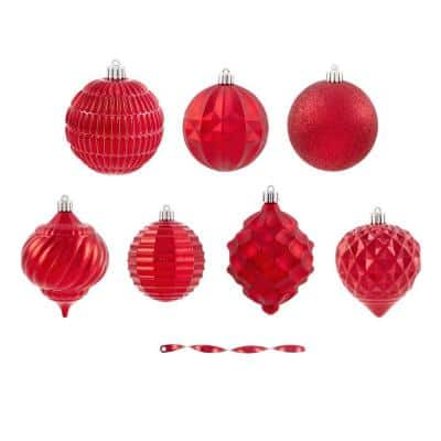 Holiday Traditions 3.15 in. Solid Red Shatterproof Ornaments (60-Count)