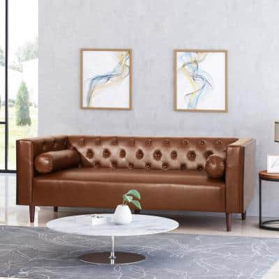 Faraway 90 in. Cognac Brown Solid Faux Leather 3 Seat Tuxedo Sofa