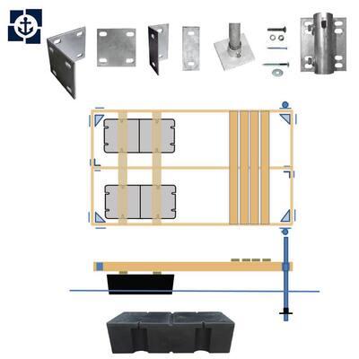 Semi-Floating Wood Dock Kit 4 ft. x 16 ft. or 6 ft. x 12 ft.