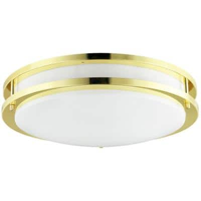 12 in. 1-Light Polished Brass Double Band Trim Decorative Flush Mount
