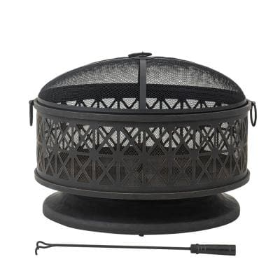 AmberCove 30 in. Outdoor Parker Round Wood Burning Firepit